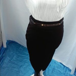 Black pencil skirt with a split